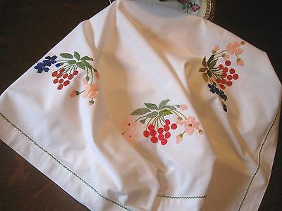 """Pretty Antique/Vintage FLORAL EMBROIDERED COTTON LUNCHEON TABLECLOTH - 30"""" x 30"""""""