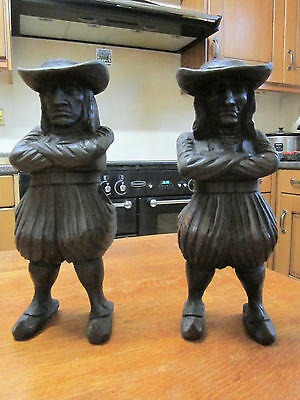 Pair Old Antique Flemish Breton Carved Wood J Martin Figure Candlesticks c1890