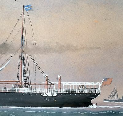 Steamer S.S.BANFFSHIRE Watercolor Ship Maritime 1896 SCOTTISH SHIRE LINE Flags