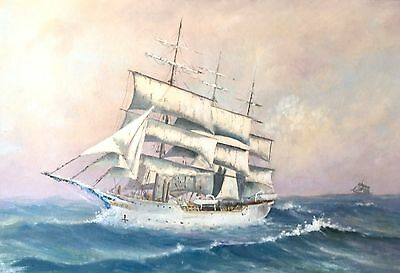 Maritime Nautical SEASCAPE SHIP 3-Masted Square Sail Rigged LISTED ARTIST