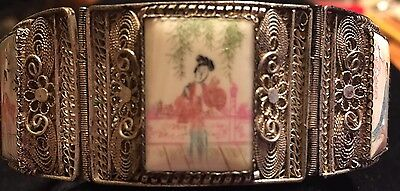 Vintage Chinese Sterling Filigree Qi Pao Paneled Bracelet with Safety Chain