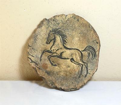 Round Flat Stone w/ Galloping Horse Art Etched Carved on Surface, Wall Plaque