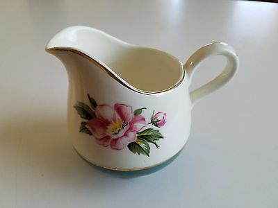 Vintage Homer Laughlin Cavalier Empire Green Q55N8 Eggshell Creamer Pink Flower