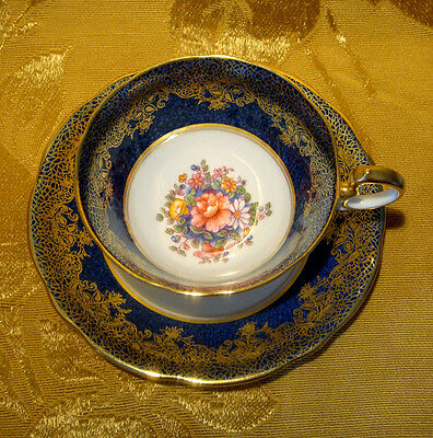 Aynsley Tea Cup & Saucer Floral Bouquet Center In Blue & Gold 6825