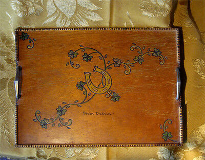 VINTAGE WOOD TRAY by CELTICRAFT HANDMADE IN IRELAND *FROM DUBLIN* BRASS HANDLES