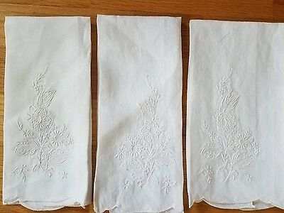 Set of 3 White on White Floral Cotton Embroidered Tea Towel  Guest Towels