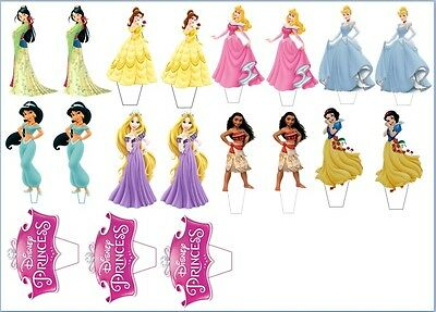 """19 x 3""""  Disney Princesses CUPCAKE/CAKE TOPPERS STAND UP PRE - CUT EASY TO USE"""