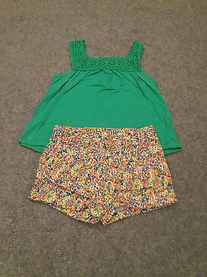 Zara Baby Girl Shorts & Top Floral Green Outfit Age 12-18 Months
