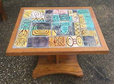 Vintage Mid Century Modern Enamel Tile Top Side End Table Abstract Faces