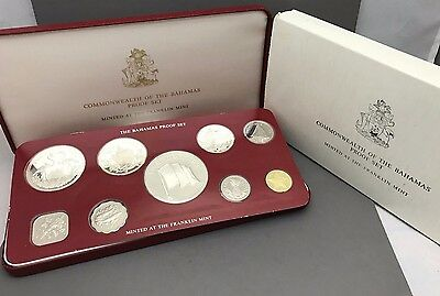 1976 Bahama Islands Proof Set 9 coins with box and COA