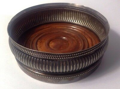 Antique Gorham Silver Plated Wine Champagne Coaster #0180 Turned Wood Base