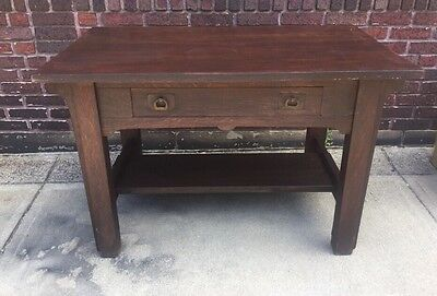 Antique Oak Mission Arts & Crafts Desk Table