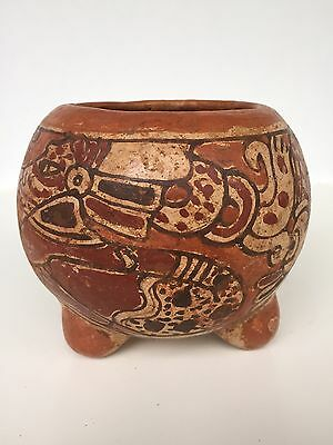 Historic 3-Legged Pottery Bowl with Ancient Mayan Designs circa 1880 - 1920