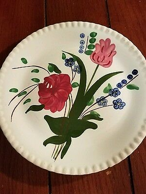"""Blue Ridge 9"""" Plate, Southern Potteries Inc USA, Red Flowers"""