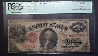 *STAR* 1917 Legal Tender Sawhorse $1.00 PCGS G 4 Apparent One Dollar Star Note
