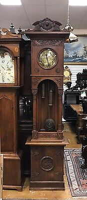 """Beautiful Germany Grandfather Clock Signed Catedral Gong Case 96"""" 1910"""