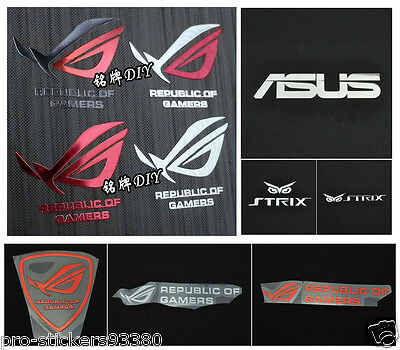 Republic of Gamers ROC STRIX Asus STICKER Autocollant Aufklebe Metal logo badge