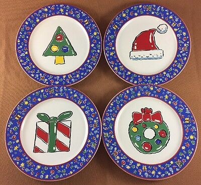 "Set Of (4) CHRISTMAS PARTY 8"" Salad/Dessert Plates By Block Basics 1995"