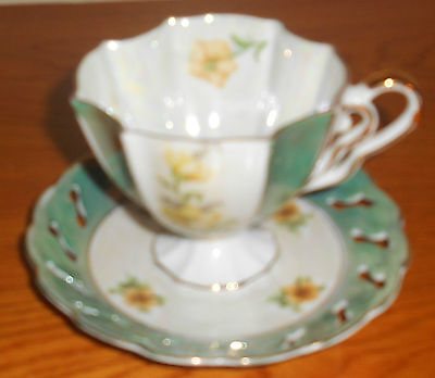 Napco Handpainted Green W/yellow Flowers Cup And Saucer