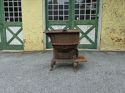 Rare Antique 19th.c Cast Iron Stove & Cauldron, Kettle, Fat Rendering, Steampunk