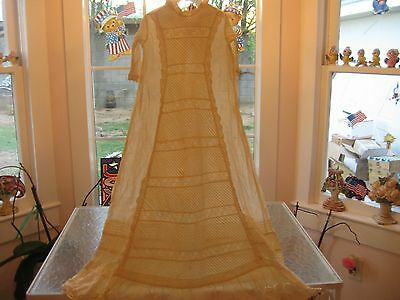 Beautiful Antique Vintage Victorian Infant Baby Child Christening Dress Gown
