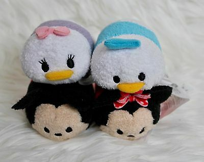 "Disney Store Mickey Minnie Donald Daisy Mini Tsum Tsum's 3.5"" Plush Lot of 4"