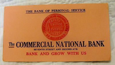Vintage Advertising Ink Blotter - The Commercial National Bank