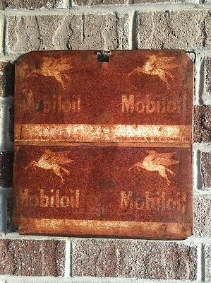 Lot #29 / Vintage Mobiloil Sign / Gas And Oil / Oil Can  / Flat