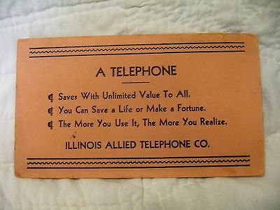 Vintage Advertising Ink Blotter - Illinois Allied Telephone Co.