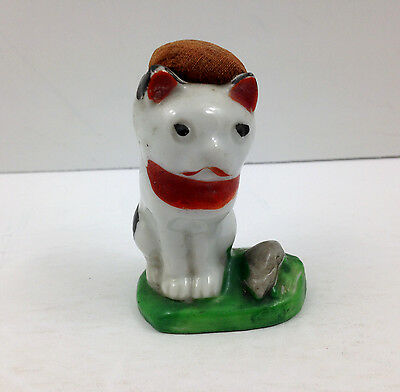 VINTAGE Cat and Mouse Ceramic Pin Cushion Kitty Kitten Mice Sewing