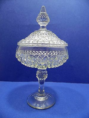 Vintage Indiana Glass Diamond Point Candy Dish Lidded Compote Clear Pedestal USA