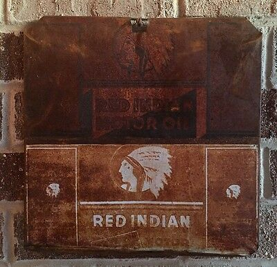 Lot #40/ Vintage Rare Red Indian Sign / Gas And Oil / Oil Can  / Flat