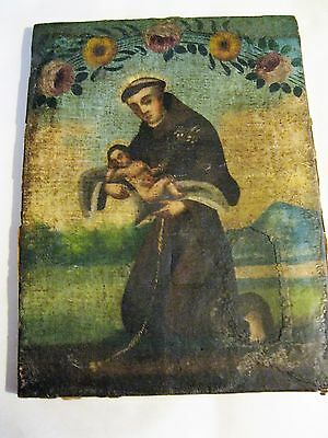 Antique Oil Painting On Canvas Saint Anthony Holding Baby Jesus, No Frame