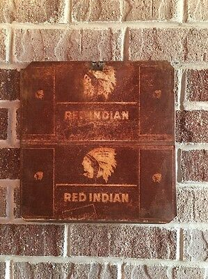 Lot #42/ Vintage Rare Red Indian Sign / Gas And Oil / Oil Can  / Flat