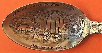 Rare Douglas Wyoming Sheep Camp On The Range Sterling Silver Souvenir Spoon