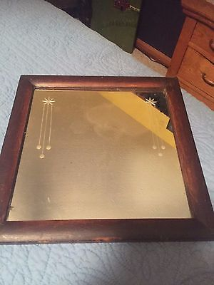 Square 1800's Wood Framed Mirror with Cut Glass design