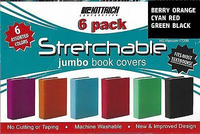 Stretchable Fabric Jumbo Size Book Cover Teal & Other Solid Colors package of 6