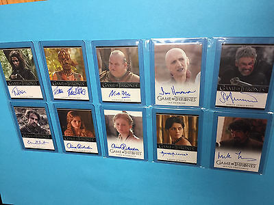 Game of Thrones Lot of 10 autograph insert cards from Season 1 & 2 NM+