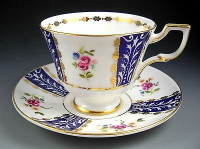 ROYAL TUSCAN Tea Cup and Saucer Vintage Cobalt Blue and Roses Gold Accented