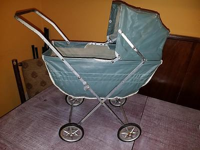 Vintage Baby Doll Buggy Stroller Green Vinyl & Metal Rocking Carriage