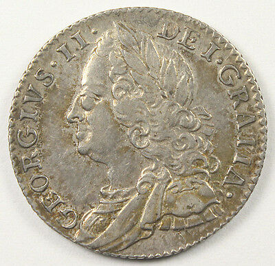 GREAT BRITAIN GEORGE II SILVER SIXPENCE S-3711 EF-AU Pretty Coin