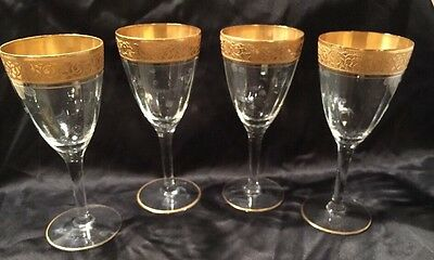 "Vintage Tiffin Crystal Goblet  Gold Encrusted 4-5/8"" Liquor / Cocktail Cordial"