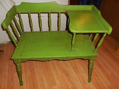 Vintage Mid Century Gossip Bench Telephone Table  painted antiqued green