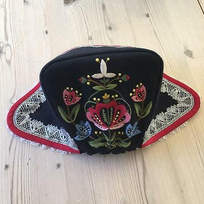 New Authentic Norwegian Navy Rogaland Bunad Hat Hand Embroidered From Norway