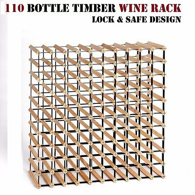Timber Wine Rack 110 Bottles Cellar Storage Stand Lock & Safe Design Pine Wood