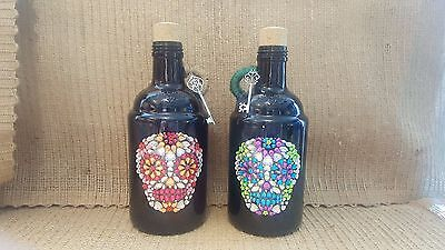Hand Made Dia De Los Muertos Decorative Glass Jugs
