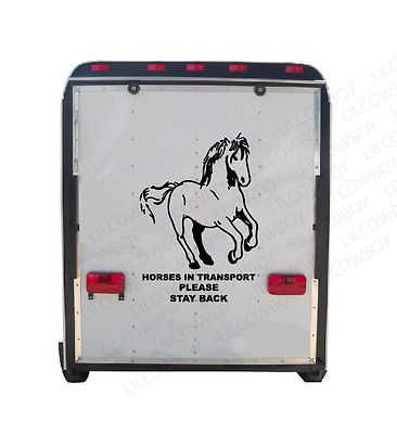 HORSES IN TRANSPORT - Stay Back Trailer Truck Decal Sticker Equestrian rider HR8