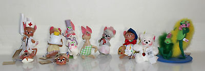 Annalee animal theme doll and pin lot set of 10  one signed
