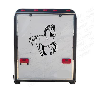 Running Horses Horse Trailer Truck Decal Sticker Equestrian rider HR9