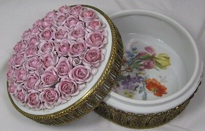 "Antique Ormolu Brass & Porcelain Applied Flower Roses Dresser Box - 6"" Round"